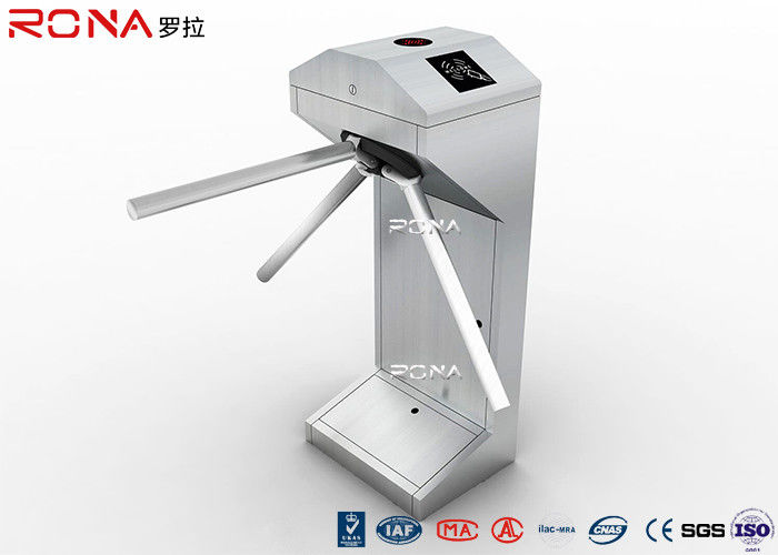 Tripod Pedestrian Turnstile Gate , Card / Fingerprint Half Height Turnstile Access Control